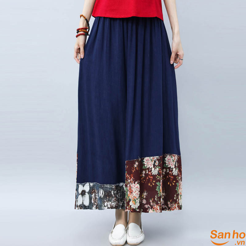 Women Vintage Floral High Elastic Waist Chinese Style Loose Maxi Skirt